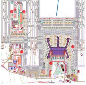 Esquema de las terminales del nuevo aeropuerto y sus plataformas d estacionamiento de aeronaves y calles de rodaje.