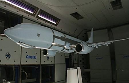 Modelo de túnel de viento de un nuevo Boeing 737