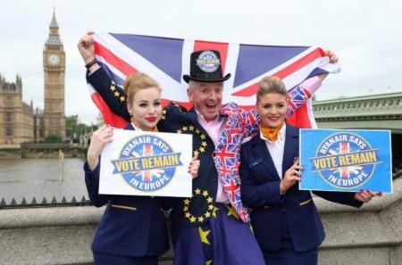 O`Leary haciendo campaña a favor de que Reino Unido siguiese en la Union Europea.