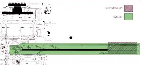 Zona afectada por las obras de la pista 18R/36L.