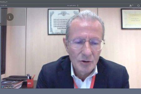 Jorge Potti, vicepresidente de la Comisión de Espacio de TEDAE durante su intervención  telemática de la presentación de las cifras del sector espacial español.