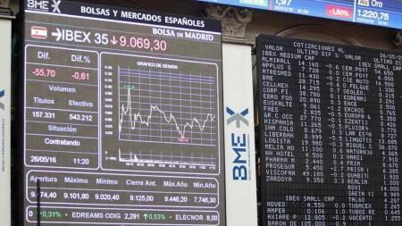 Panel de cotización de las empresas del IBEX 35 en la bolsa de Madrid.