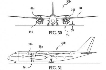 Ejemplo de patente de Boeing de un avión tipo Airbus A380 con dos motores tipo UDF.