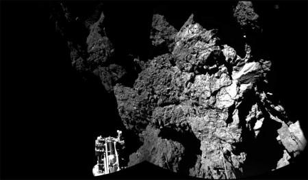 Imagen real de Philae sobre el cometa
