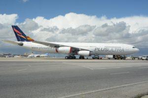 En julio Plus Ultra lanza su prorama de viajeros frecuentes, se muda a la T4 de Barajas, y desde el día 12 vuela a a Quito y Guayaquil.