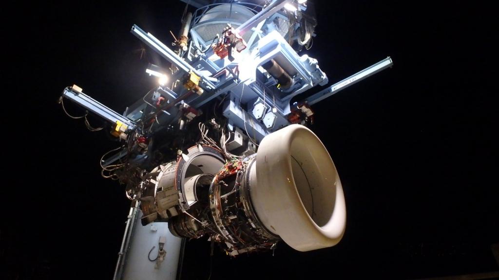 El demostrador de la segunda generación de la familia Geared Turbofan de Pratt & Whitney en el banco de pruebas.