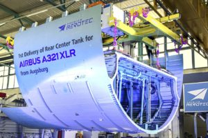 Sección de premium Aerotec con el nuevo depósito de combustible del Airbus A321XLR