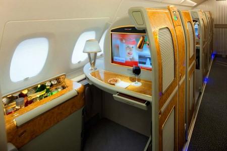 Suite de primera clase en los Airbus A380 de Emirates.
