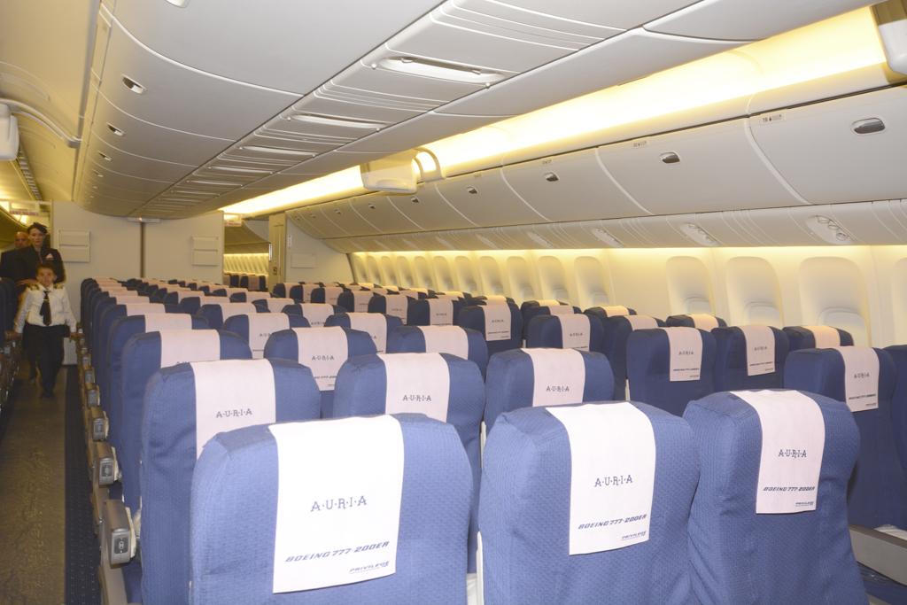 La separación entre asientos en clase turista del Boeing 777 de Privilege es de 85 centímetros.