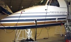 El avión, además de ser pintado, se ha sometido a una revisión completa tras haber estado almacenado tras la suspensión de vuelos de Lagunair.