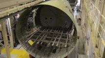 Cadena de producción de fuselajes de Airbus A321 en Finkenwerder.
