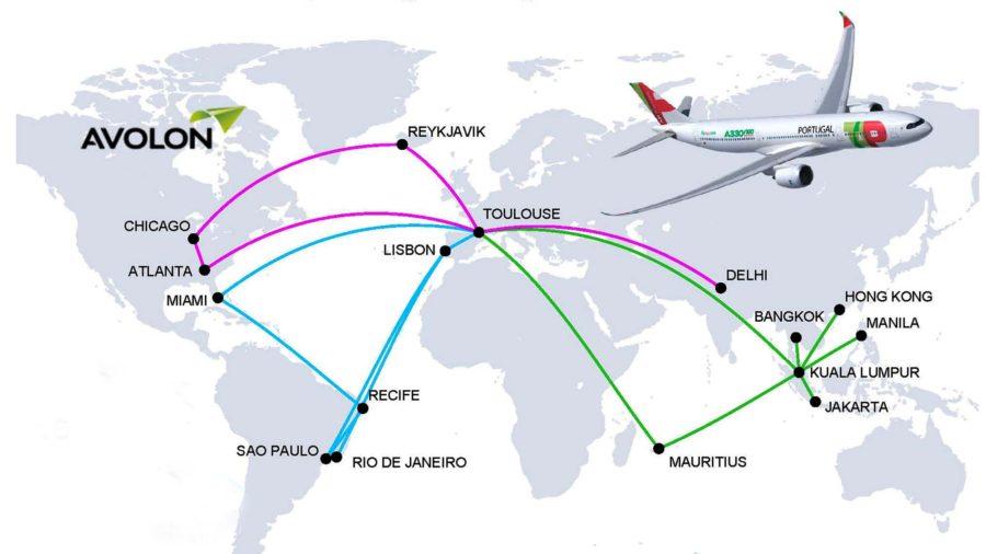Mapa con los tres vuelos de prueba previstas con el A330-900 de TAP Air Portugal. En azul el primero de ellos. De Lisboa el avión ha seguido a Brasil y luego a Miami. El segundo vuelo (en verde) será a Asia, con Kuala Lumpur como destino inicial. El regreso a Toulouse será vía islas Mauricio. El tercero (en morado), se iniciará con un trayecto a Delhi, para volver a Toulouse y de allí a Estados Unidos vía Islandia.