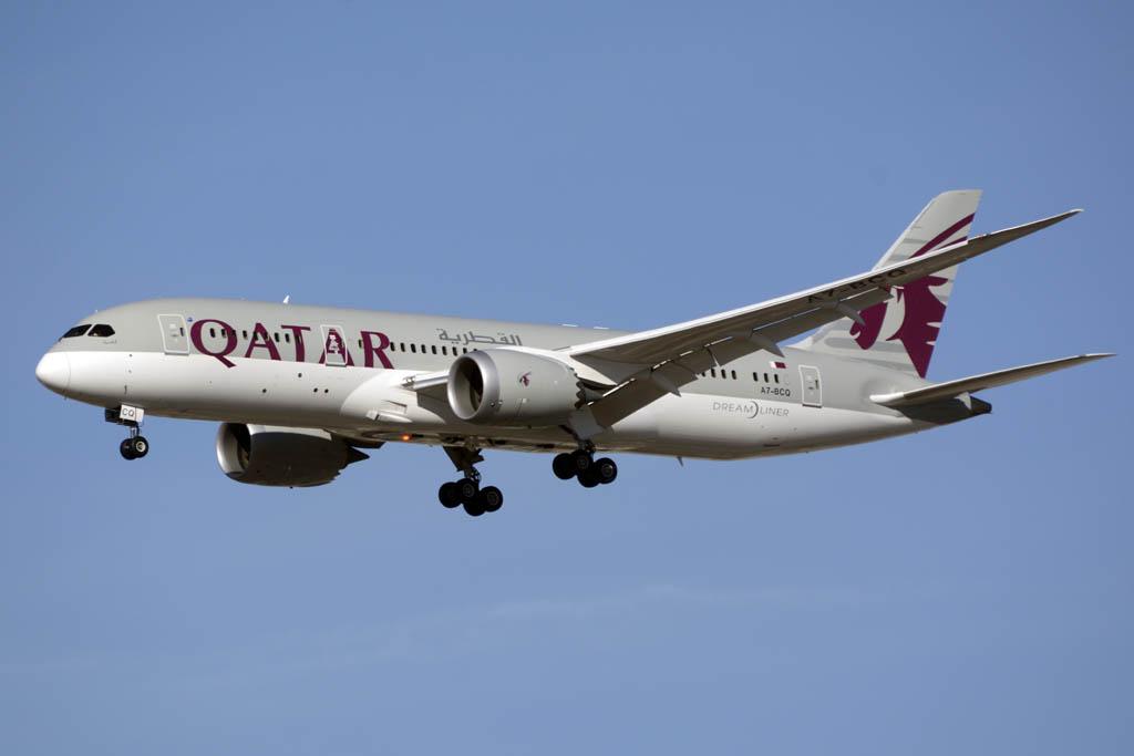 A7-BCQ, el primer Boeing 787 de Qatar Airways en aterrizar en el aeropuerto de Madrid Barajas.