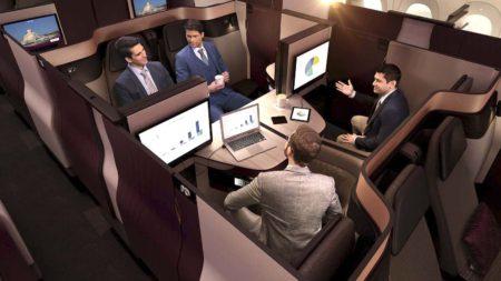 Qsuite de Qatar Airways. Los asientos adyacentes pueden configurarse como una cama doble.q