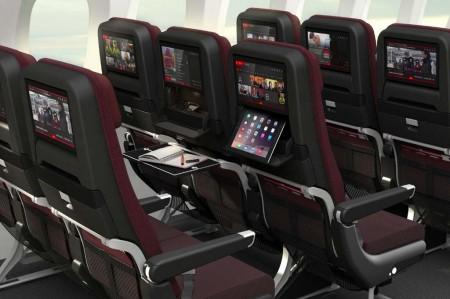 Nuevos asientos de clase turista para los B-787 de Qantas. Incorporan un soporte para tablets.