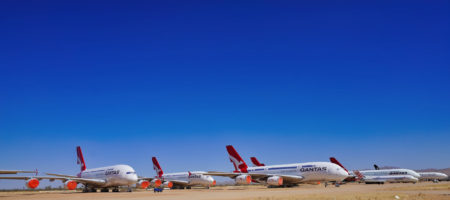 Airbus A380 de Qantas aparcados en Victorville (California)