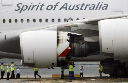 El motor del A380 de Qantas que explotó en vuelo al despegar de SIngapur.