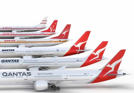 Evolución histórica de la imagen corporativa de Qantas.