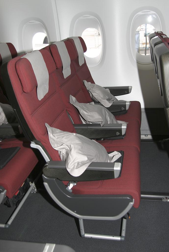 Asientos de clase turista en el Airbus A380 de Qantas