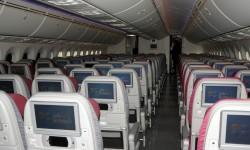 La clase turista cuenta con 232 asientos en grupos de 9 en cada fila.