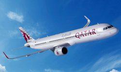 Ilustración del Airbus A321neo con la nueva configuración de puertas y colores de Qatar Airways.