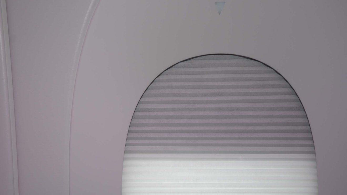 En business las ventanillas cuentan con una doble cortina eléctrica que se controla con las flechas sobre la misma.
