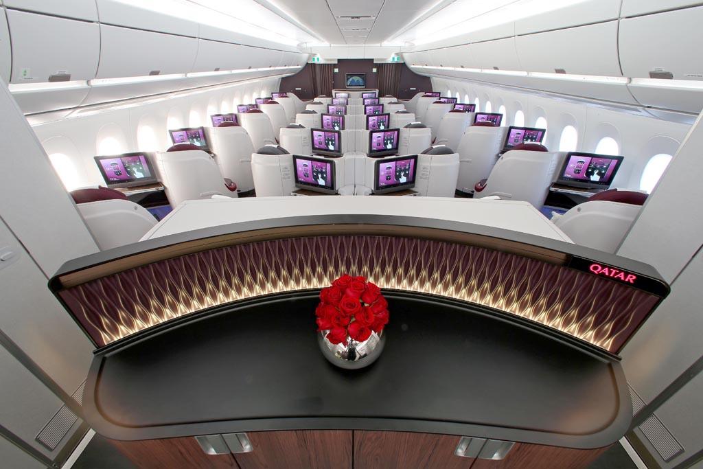 Cabina de clase business del A350 de Qatar Airways