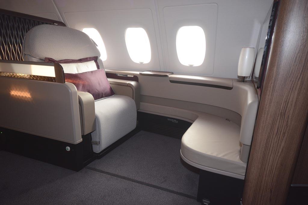 Asiento de Primera Clase en el Airbus A380 de Qatar Airways.