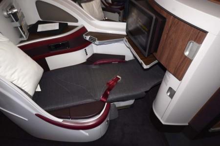 Asiento cama de business en el Airbus A350 de Qatar Airways, avión que usará la compañía en sus vuelos a España.
