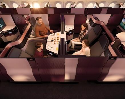 Las QSuites unidas en un salón para cuatro pasajeros.