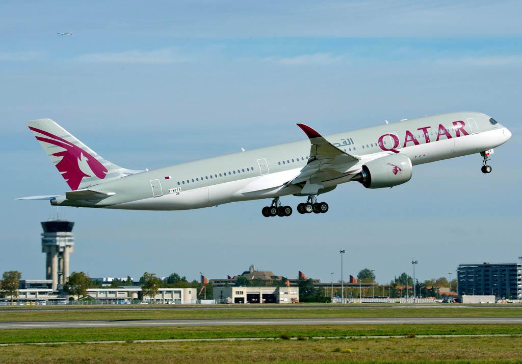 Despegue de Toulouse del Airbus A350 de Qatar Airways