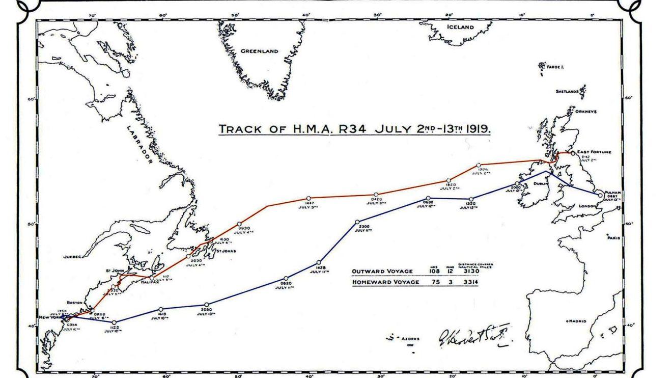 Rutas seguidas por el R34 en sus vuelos osbre el Atlántico a la ida (en azul) yh el regreso (en rojo)