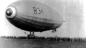 El R34 fotografiado en Mineola el 6 de junio de 1919 tras su vuelo intercontinental.