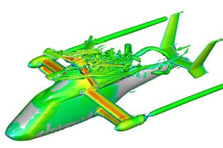 Análisis en 3D de la turbulencia originada por la cabeza del rotor principal del Racer y su carenado.