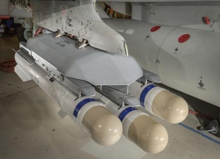 Lanzador triple de misiles Brimstone que se usará en el Eurofighter.