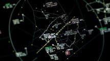 Pantalla de radar con inforamción del tráfico aéreo sobre la isla de Mallorca.