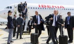 Real Madrid en uno de sus vuelos con Iberia. Foto de archivo.