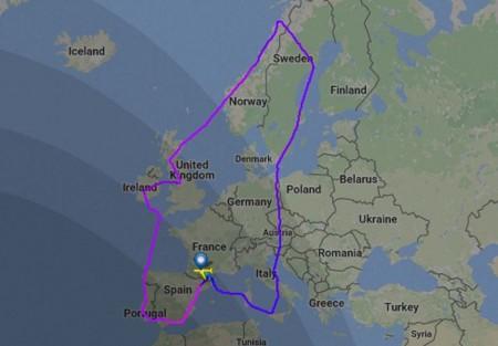 Recorrido del A350-1000 en el vuelo de 12 horas, El vuelo se efectuó en sentido contra horario, procediendo primero haca Escandinavia, antes de proceder a Reino Unido y circunvalar la península Ibérica.