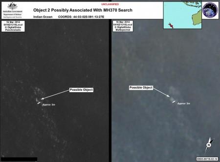 Imagen por satélite distribuida por el Gobierno australiano de restos flotando en el océano Índico días después de la desaparición del vuelo MH370.