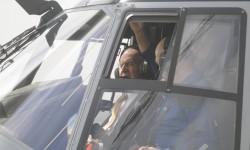 S.M. el Rey Juan Carlos ha pilotado durante media hora el primer NH90 destinado al Ejército español.