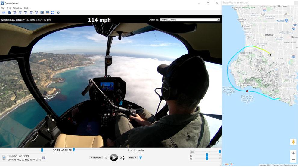 Ejemplo de la edición del video obtenido con la cámara de Robinson y la información GPS del vuelo.