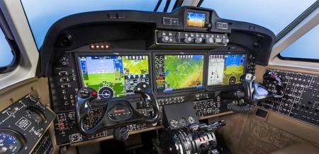 Cockpit de un Beech King Air con aviónica Rockwell Collins Pro Line Fusion que se ofrece de fábrica con estos aviones.