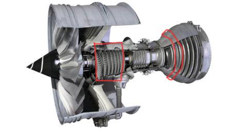 Estructura interna del motor Rolls-Royce Trent 1000, Señalados en rojo el compresor de presión intermedia (delante) y la turbina de presión intermedia (atrás).