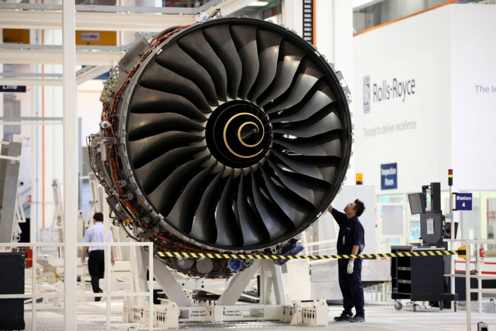 Motor Rolls-Royce Trent 900 producido en la factoría de Singapur del fabricante británico.