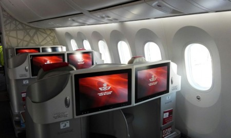 Asientos de clase business del Boeing 787 de Royal Air Maroc.