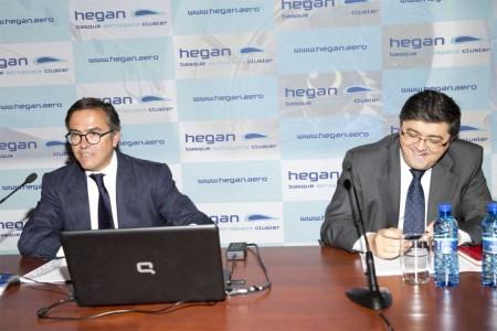 Ignacio Mataix, presidente del clúster aeronáutico del País Vasco, Hegan, y José Juez, director general han anunciado hoy los resultados de la industria aeronáutica vasca en 2013.