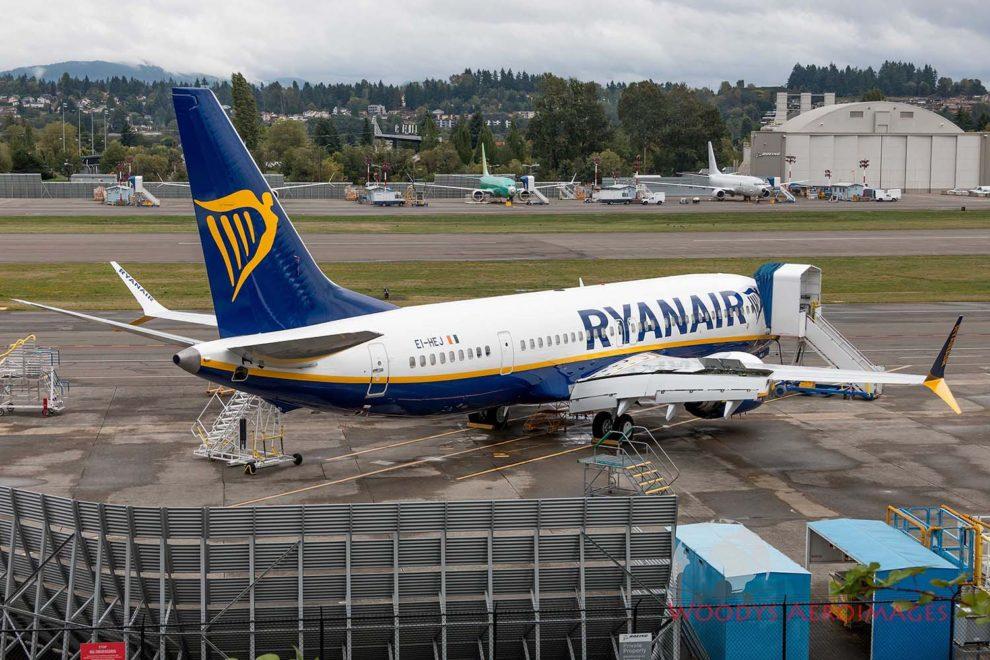 Boeing 737 MAX dee Ryanair en las instalaciones de Boeing en Boeing Field.