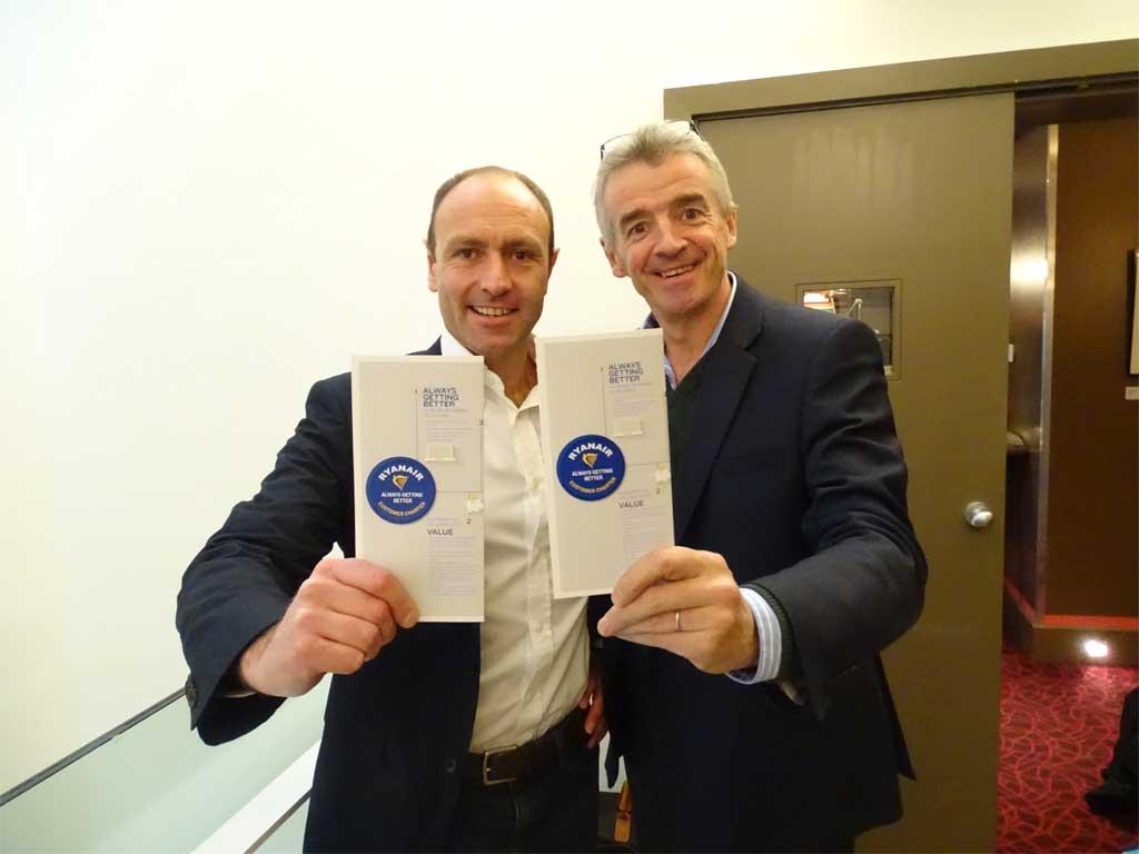 jacobs y O'Leary durante la presentación de ls nuevas medidas anunciadas por Ryanair