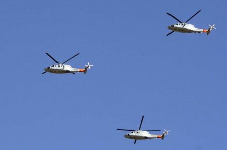 Tres S-76 del Ala 78 durante las prácticas para el desfile.
