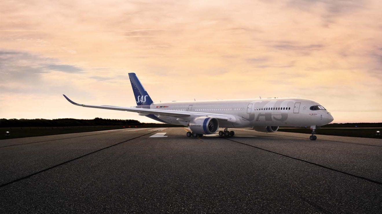 El Airbus A350 será el primer avión de SAS en lucir los nuevos colores.